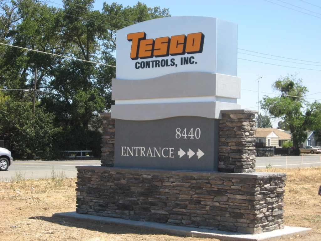 Custom Monument Sign with Stone Work